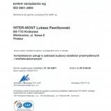 Inter-Mont, Certyfikat TUV CERT