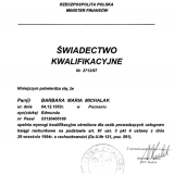 Biuro Usług Księgowych BILANSIK, świadectwo kwalifikacyjne Ministerstwa Finansów