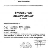 Biuro Rachunkowe AGNES, świadectwo kwalifikacyjne