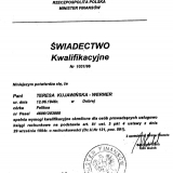 Biuro Rachunkowe Werte - świadectwo kwalifikacyjne