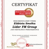 Lider FM GROUP, certyfikat Rekomendowana Firma 2010