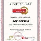 TOP SERWIS - certyfikat rekomendowana firma 2010