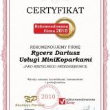 Usługi Mini Koparką Rycerz Dariusz - certyfikat rekomendowana firma 2010