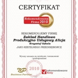 ALICJA - certyfikat rekomendowana firma 2010