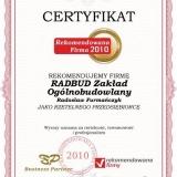 RADBUD - certyfikat rekomendowana firma 2010