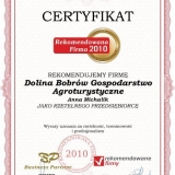 Dolina Bobrów - certyfikat rekomendowana firma 2010