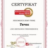 Terex - certyfikat rekomendowana firma 2010