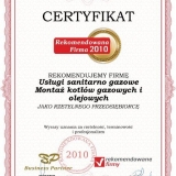 Robert Kuziemski - certyfikat rekomendowana firma 2010