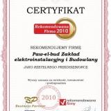 Paw-el-bud - certyfikat rekomendowana firma 2010