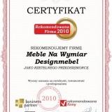 Designmebel - certyfikat rekomendowana firma 2010