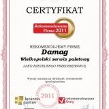 Damag - certyfikat rekomendowana firma 2010