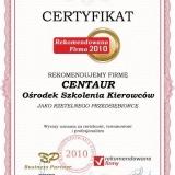 CENTAUR - certyfikat rekomendowana firma 2010