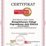 AAA KALLA - certyfikat rekomendowana firma 2010