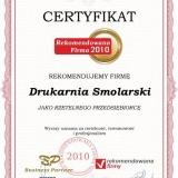 Drukarnia Smolarski - certyfikat rekomendowana firma 2010