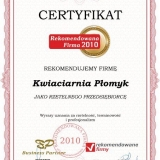 Kwiaciarnia Płomyk - certyfikat rekomendowana firma 2010