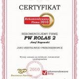 PW ROLAS 2 - certyfikat rekomendowana firma 2010