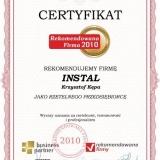 INSTAL Krzysztof Kępa - certyfikat rekomendowana firma 2010