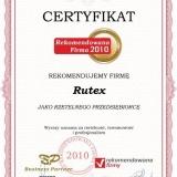 Rutex - certyfikat rekomendowana firma 2010