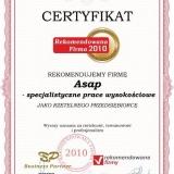 Asap - certyfikat rekomendowana firma 2010
