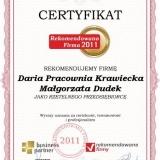 Daria Pracownia Krawiecka - certyfikat rekomendowana firma 2011