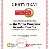 Ul-Ka - certyfikat rekomendowana firma 2011
