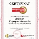Krymar - certyfikat rekomendowana firma 2011