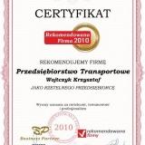 Wojtczyk Krzysztof - certyfikat rekomendowana firma 2011