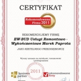 EW-BUD - certyfikat rekomendowana firma 2011