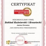 Janina Chromicz - certyfikat rekomendowana firma 2011
