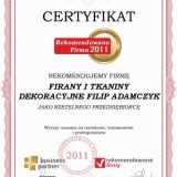 FILIP ADAMCZYK - certyfikat rekomendowana firma 2011