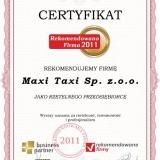 Maxi Taxi Sp. z.o.o. - certyfikat rekomendowana firma 2011
