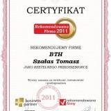 BTH Hydrotechnik - certyfikat rekomendowana firma 2011