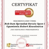 Rob-Gum - certyfikat rekomendowana firma 2011