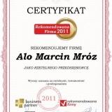 Alo Marcin Mróz - certyfikat rekomendowana firma 2011