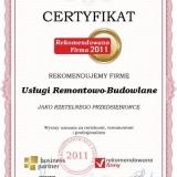 Usługi Remontowo-Budowlane - certyfikat rekomendowana firma 2011