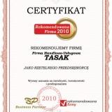 Firma Handlowo-Usługowa Tasak - certyfikat rekomendowana firma 2010