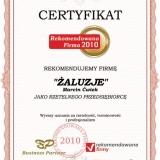 ŻALUZJE Marcin Ćwiek - certyfikat rekomendowana firma 2010