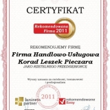 Korad - certyfikat rekomendowana firma 2011