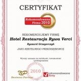 Hotel Restauracja Rywa Verci - certyfikat rekomendowana firma 2010