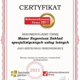 Mazur Eugeniusz - certyfikat rekomendowana firma 2011