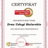 Drew - certyfikat rekomendowana firma 2011