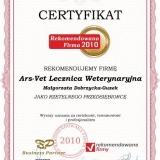 Ars-Vet - certyfikat rekomendowana firma 2010