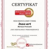 Inox-art - certyfikat rekomendowana firma 2010