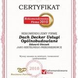 Dachdecker - certyfikat rekomendowana firma 2010