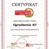 Ogrodzenia 4u - certyfikat rekomendowana firma 2010