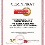 PRZYCHODNIA WETERYNARYJNA - certyfikat rekomendowana firma 2010