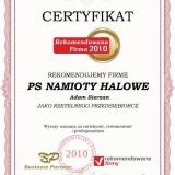 PS NAMIOTY HALOWE - certyfikat rekomendowana firma 2010