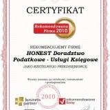 HONEST - certyfikat rekomendowana firma 2010