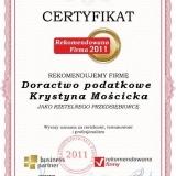 Krystyna Mościcka - Certyfikat rekomendowana firma