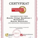 Monika Makowska - certyfikat rekomendowana firma